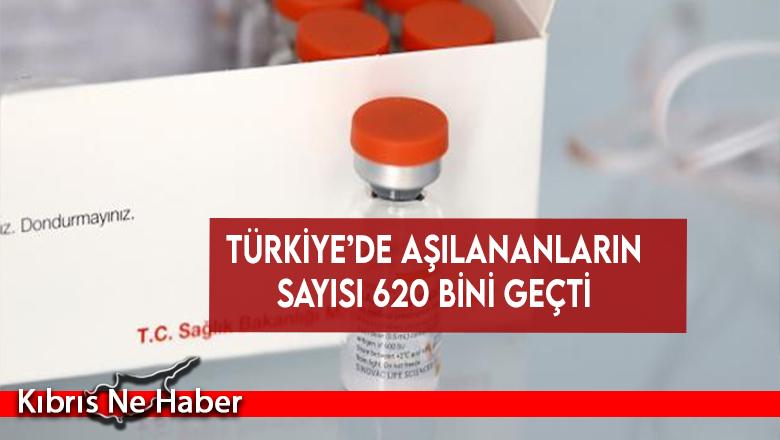 Türkiye'de aşılananların sayısı 620 bini geçti