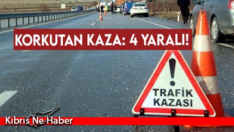 Lefkoşa -Girne anayolu üzerinde korkutan kaza: 4 yaralı!