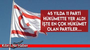 İşte en çok hükümet olan partiler…